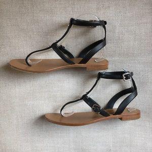 Prada Sandals Ankle Strap Black Buckle Studs Thong